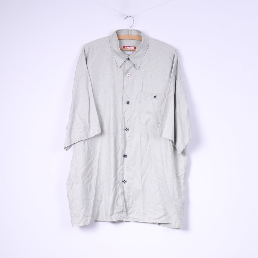 Key West Mens L Casual Shirt Grey Mini Check Detailed Buttons Cotton Top