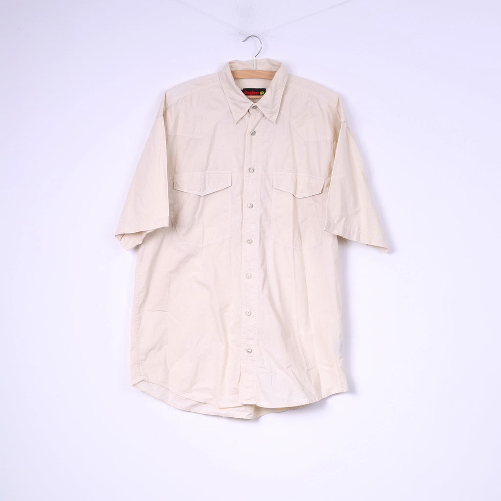 Jinglers Mens L Casual Shirt Beige Cotton Short Sleeve Pockets Top