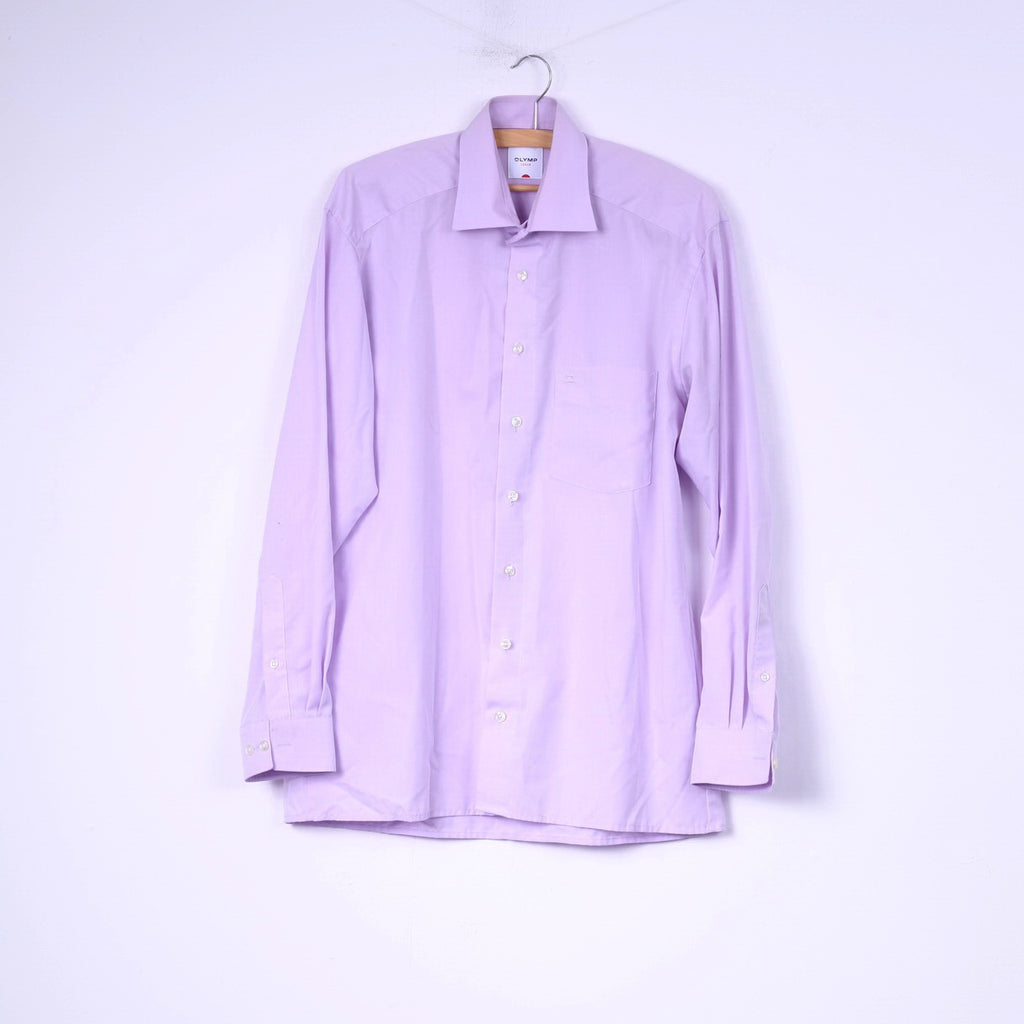 Olymp Luxor Mens 40 15 3/4 XL Casual Shirt Long Sleeve Violet Cotton Top