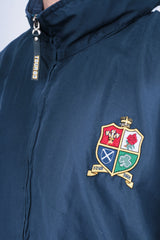 New Zealand Tour 05 Mens M Jacket Track Top Blue Sport Rugby Hood - RetrospectClothes