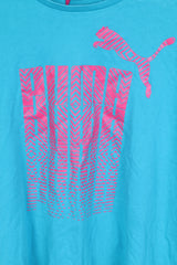 Puma Mens XL T-Shirt Sportswear Crew Neck Cotton Turquoise Pink