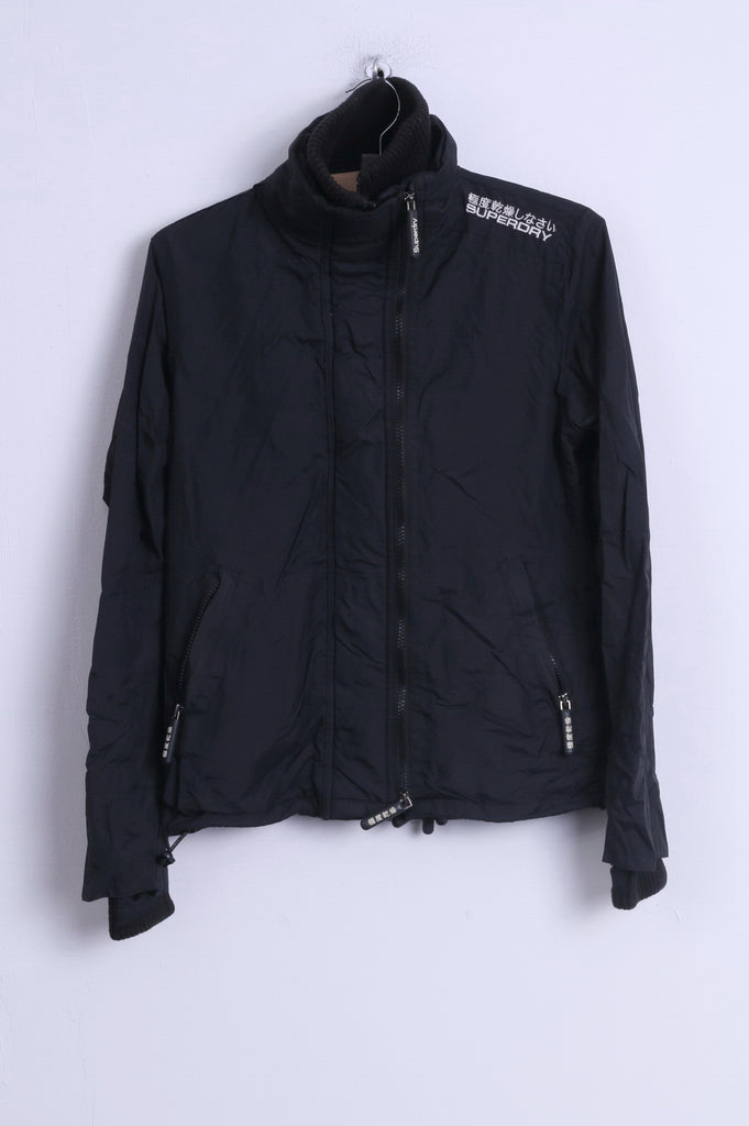 Superdry Womens M Jacket Black Nylon Lightweight 3 Zippers Japan Top