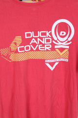 DUCK AND COVER Mens XL T-Shirt Red Cotton  Logo Crew Neck Short Sleeve