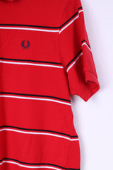 Fred Perry Mens M Polo Shirt Red Cotton Pique Striped Detailed Buttons