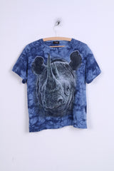 Sandino Creation Mens M T-Shirt Blue Rhinoceros Graphic
