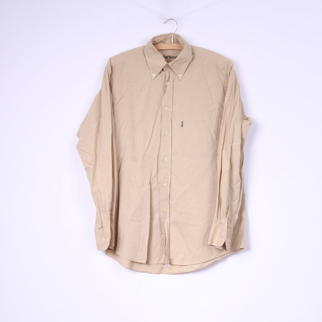 Barbour Mens M Casual Shirt Long Sleeve Beige Cotton Buttons Down Collar