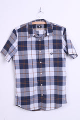 DC Mens S Casual Shirt Short Sleeve Check Navy Top - RetrospectClothes