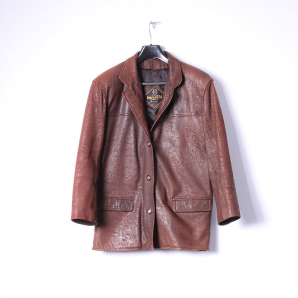 Maxin Norway Womens 34 XL Jacket Brown Leather Polarpels Single Breasted Blazer