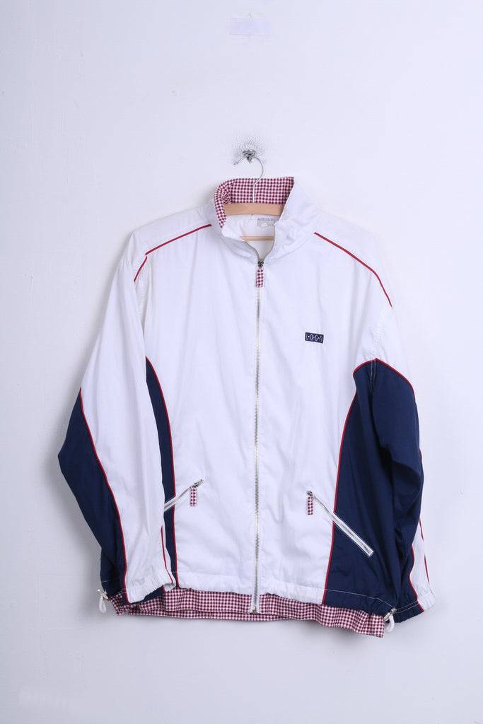 LOGO Sportswear Mens 42 XL Track Top Jacket White Sport - RetrospectClothes