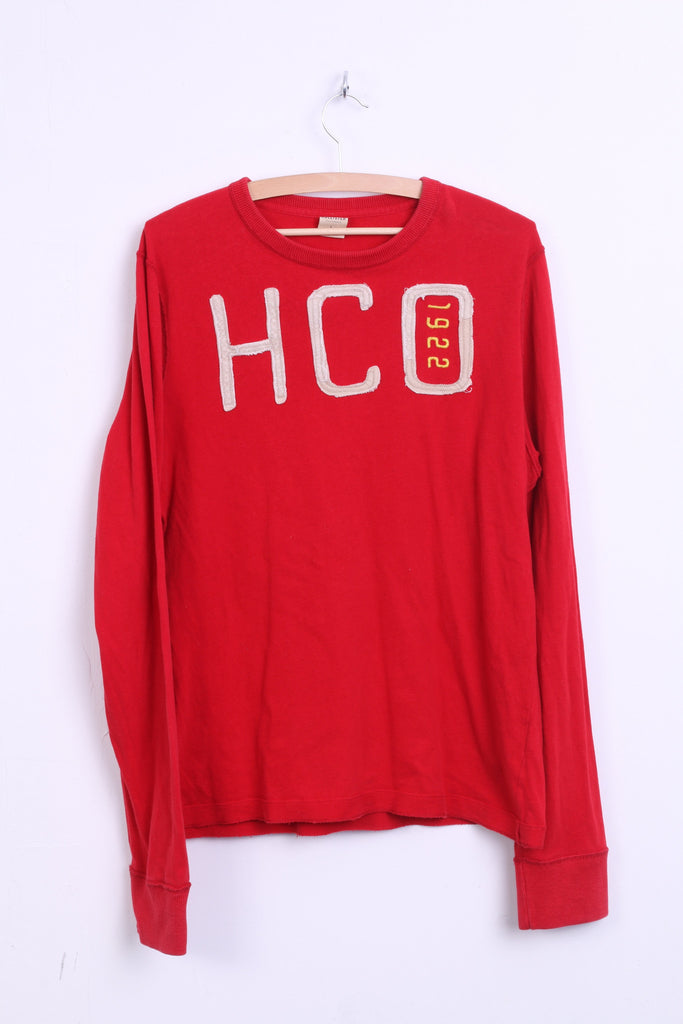 Hollister California Mens L Shirt Crew Neck Red Long Sleeve Cotton HCO 1992 - RetrospectClothes