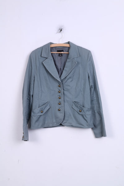 H&M Womens 42 XL Blazer Single Breasted Turquoise Cotton