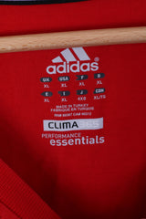 Adidas Mens XL T-Shirt Red Top Cotton Crew Neck Sport Clima 365 Performance Essentials