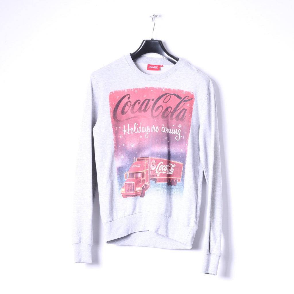 Cedar Wood State Mens S Sweatshirt Grey Graphic Coca Cola Santa Top