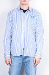 La Martina Mens XXL Casual Shirt Striped White Cotton Blue - RetrospectClothes