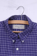Francis Lai Mens S Casual Shirt Check Buttons Down Collar Top Navy
