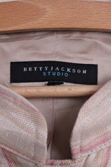 Betty Jackson Studio Womens M Jacket Beige Linen Striped Big Buttons Blazer