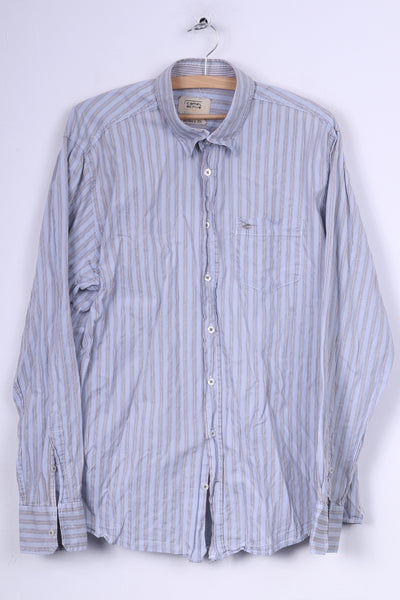 Camel Active Mens XL Casual Shirt Button Down Collar Cotton Striped Modern Fit