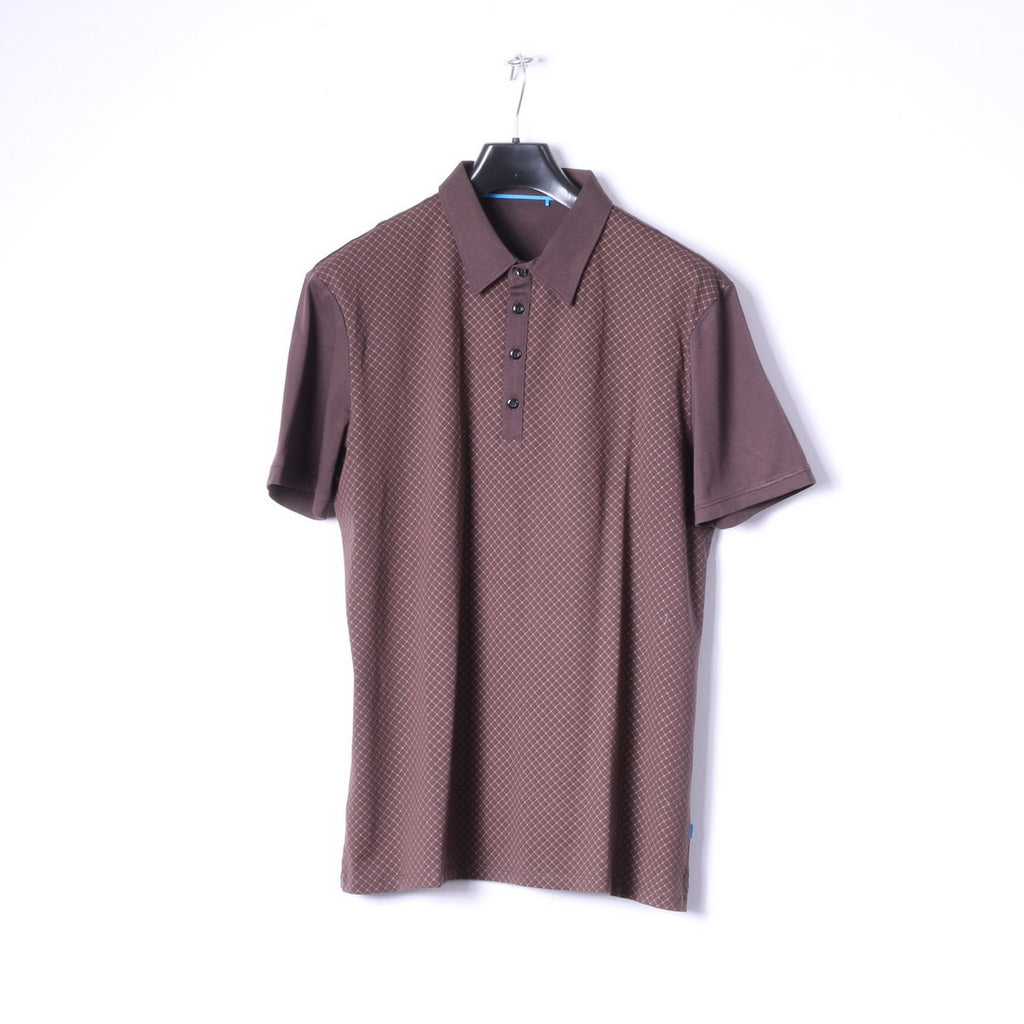 Esprit Mens XL Polo Shirt Brown Check Cotton Detailed Buttons Classic Top