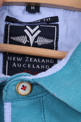 New Zealand Auckland Mens M Polo Shirt Heritage Fit Buttons Detailed Cotton Turquoise Top