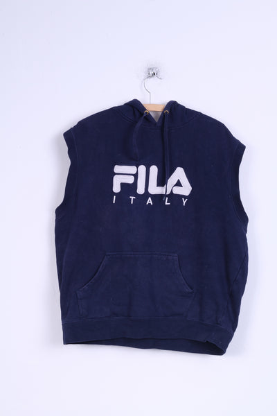 FILA Italy Mens XL Vest Blouse Navy Cotton Hoodie Top