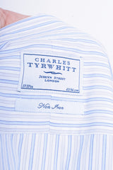 Charles Tyrwhitt Mens 17/43 XL Formal Shirt Striped Blue Jermyn Street London - RetrospectClothes