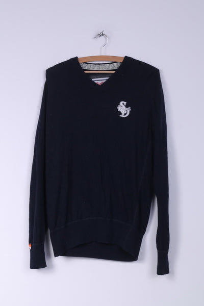 Superdry Mens L Jumper Sweater V Neck Navy AW2010