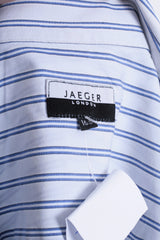 Jaeger London Mens 16.5 L XL Casual Shirt Striped White Cotton - RetrospectClothes