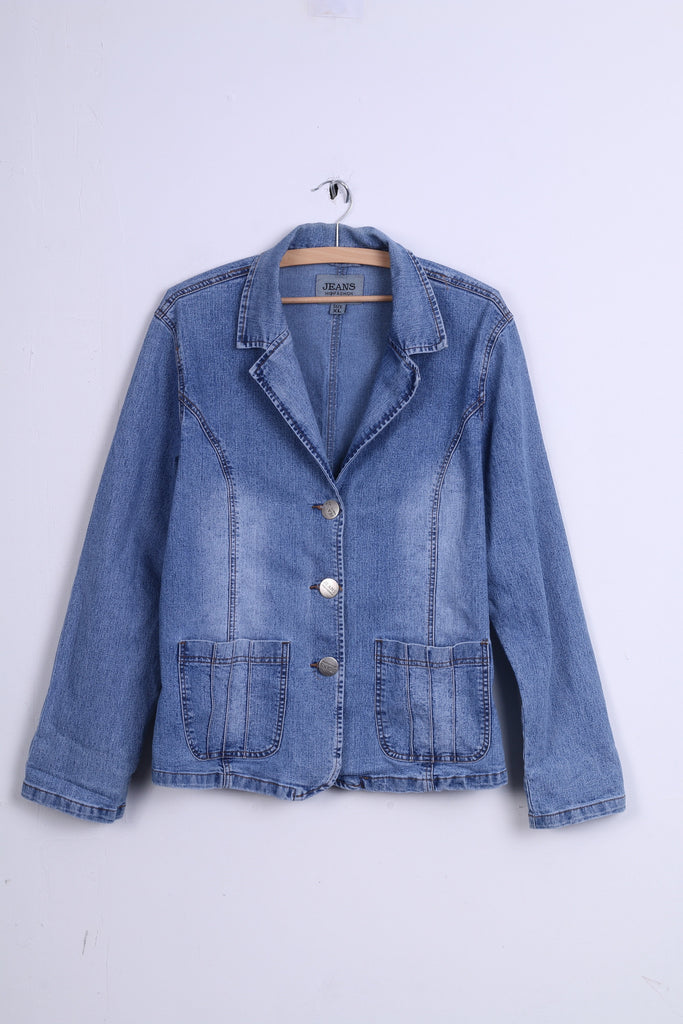 Jeans High Fashion Womens XL Jacket Blue Denim Single Breasted Strech Blazer