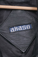 Akaso Mens 2XL Leather Jacket Black Full Zipper XXL Biker Bomber Top