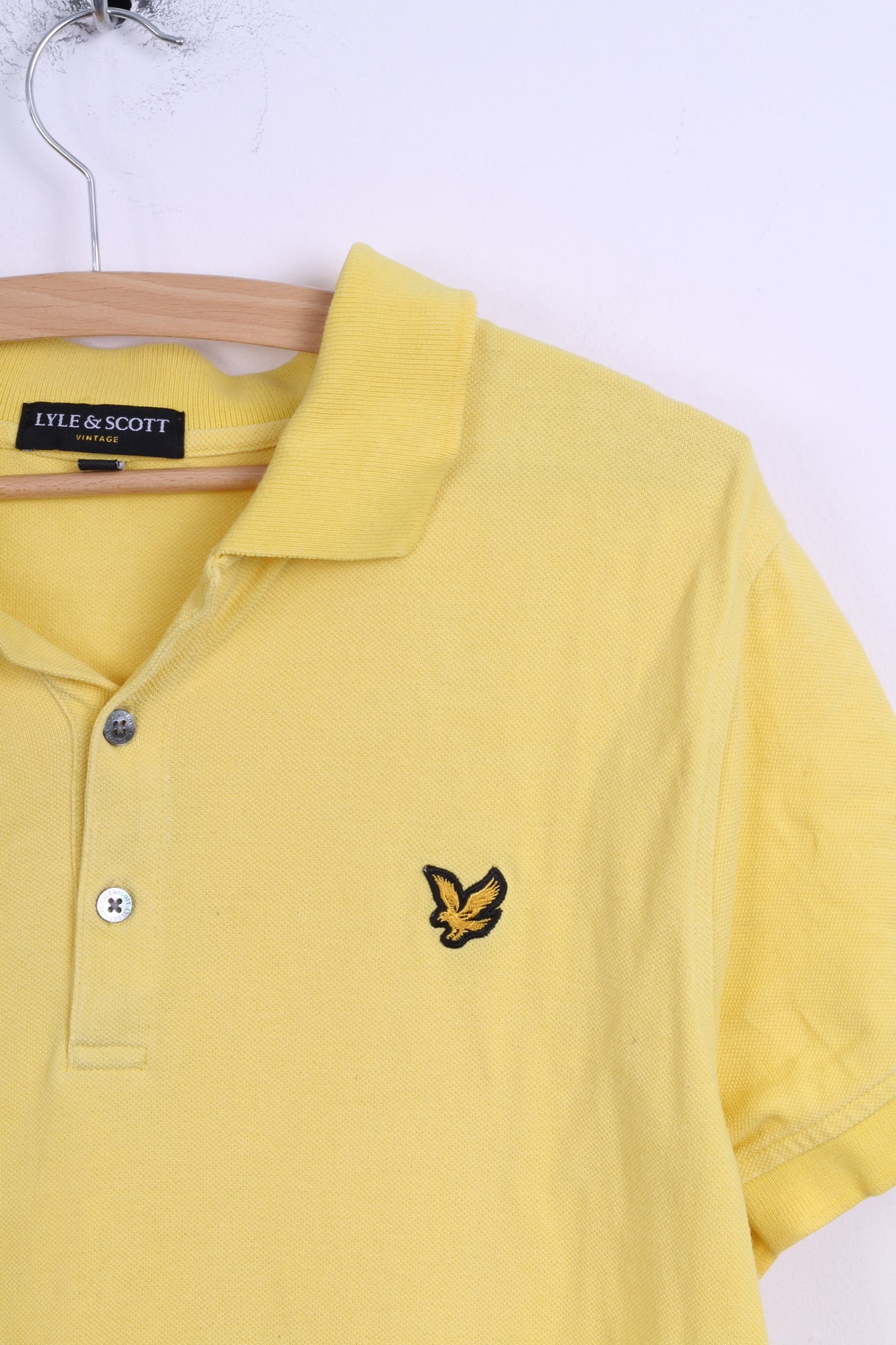Lyle Scott Vintage Mens L S Polo Shirt Yellow Cotton Slim Fit Ampamp Red Detailed