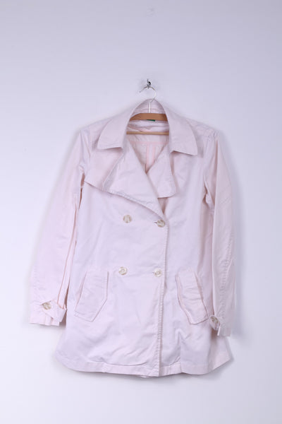 United Colors Of Benetton Womens 44 XL Jacket Double Breasted Light Pink Cotton