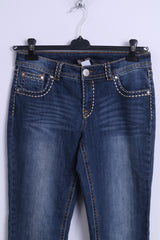 BC Womens 12 M Jeans Trousers Blue Denim Cotton Elastane Straight Leg