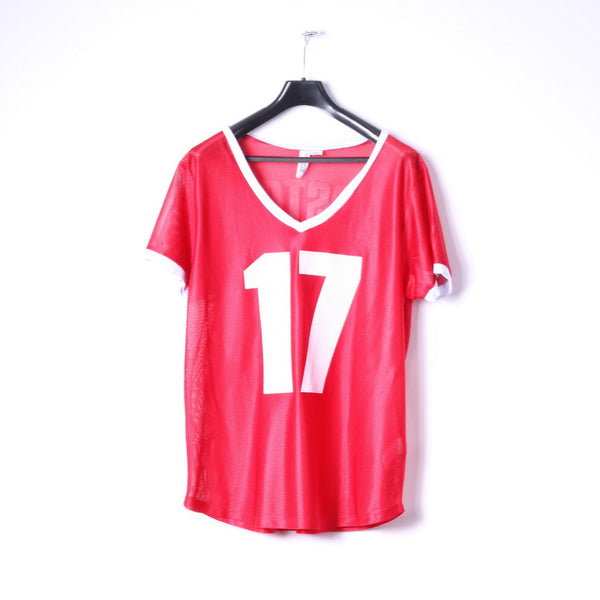 Project Social Mens L Shirt Red Mesh V Neck Boston #17 Jersey Made in USA