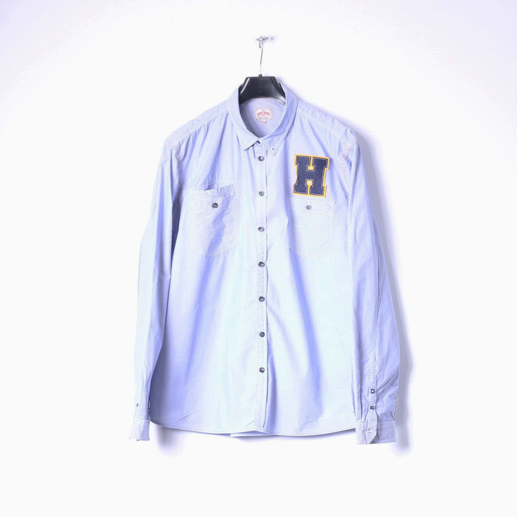 Henry Choice Jeans Mens XXL Casual Shirt Blue Striped Embroidered Long Sleeve