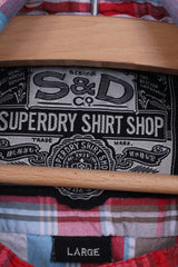 Superdry Mens L Casual Shirt Short Sleeve Check Multi