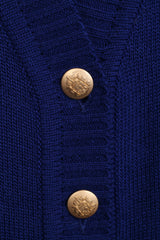 La Belle Womens 10/12 L Jumper Cardigan Gold Button Wool Italy - RetrospectClothes