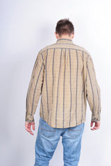 Mexx Mens XL Casual Shirt Check Brown Cotton Buttons Down - RetrospectClothes