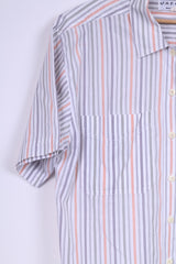 Jaeger Womens M Casual Shirt White Striped Short Sleeve Top Cotton