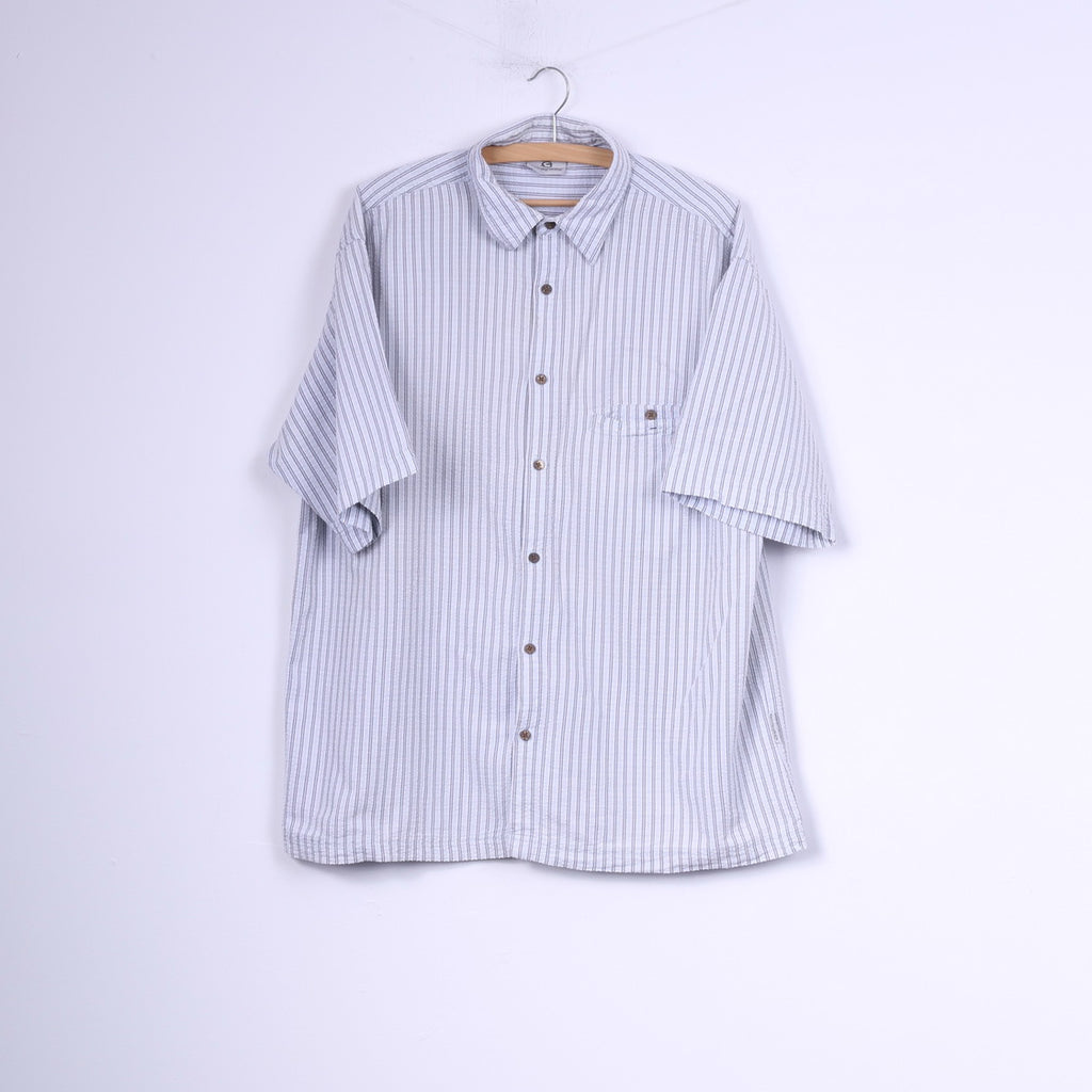 Sprayway Mens L Casual Shirt Striped Light Grey Cotton Hiking Top