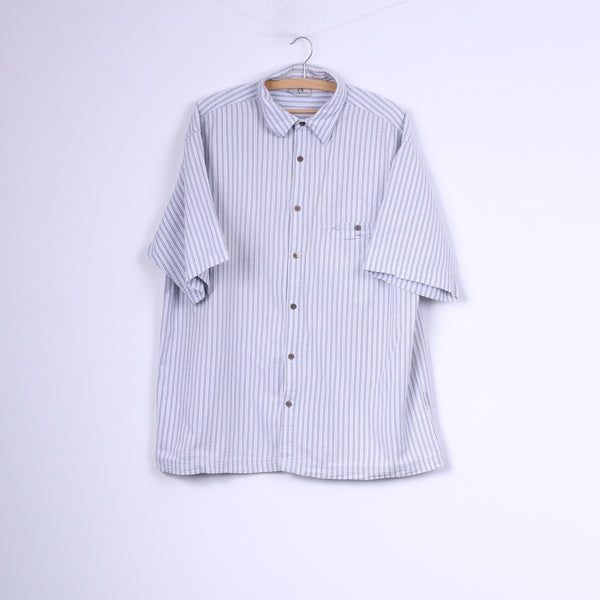 Spraway Mens L Casual Shirt Striped Light Grey Cotton Short Sleeve Top