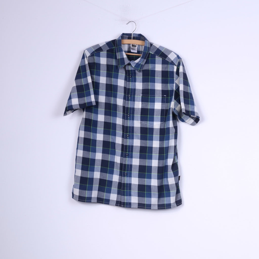 0e251dc88 The North Face Mens M Casual Shirt Check Blue Short Sleeve Cotton Outdoor  Top