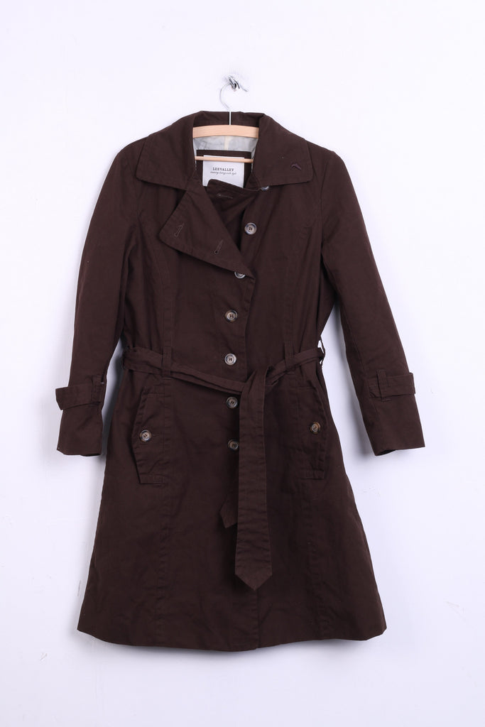 Leevalley Womens M Coat Brown Trench Cotton Single Breasted - RetrospectClothes