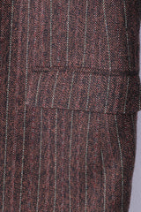 Hugo Boss Mens 50 Blazer Brown Herringbone Striped Wool Rossellini Vintage Jacket