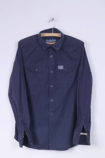 Superdry Mens M Casual Shirt Navy Cotton Long Sleeve