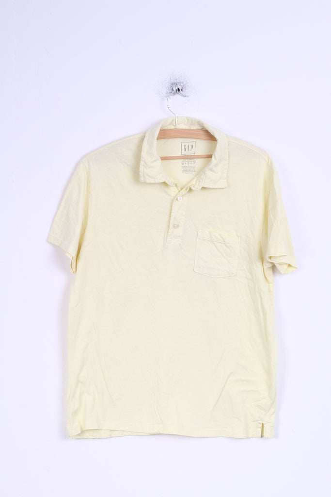 GAP Mens M Polo Shirt Cotton Yellow Stretch Top
