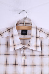 Hugo Boss Mens M Casual Shirt Check Beige Cotton Long Sleeve Top