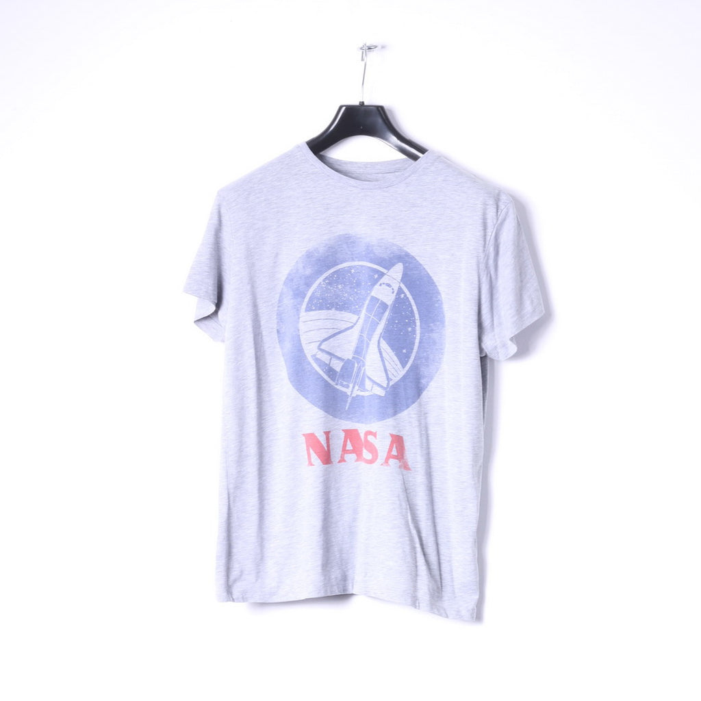 Cedar Wood State Mens L (M) T_Shirt Grey Cotton Graphic NASA Slim Fit Top