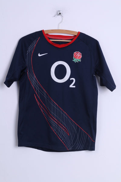 Nike Boys 158-170 13-15 age Shirt O2 Navy England Rugby Jersey Top