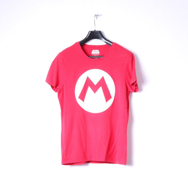 Super Mario Womens M Shirt Red Cotton Nintendo Logo Stretch Top