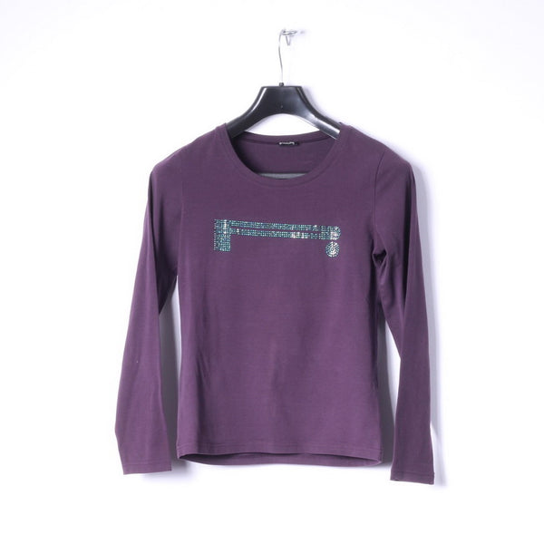 Pierelli Womens S Long Sleeved Shirt Purple Stretch Crew Neck Logo Top